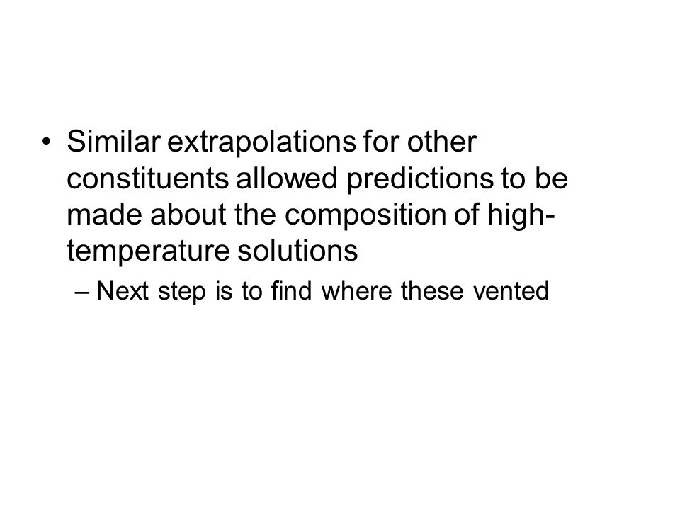 Similar extrapolations for other constituents allowed predictions to be made about the composition of high-temperature solutions