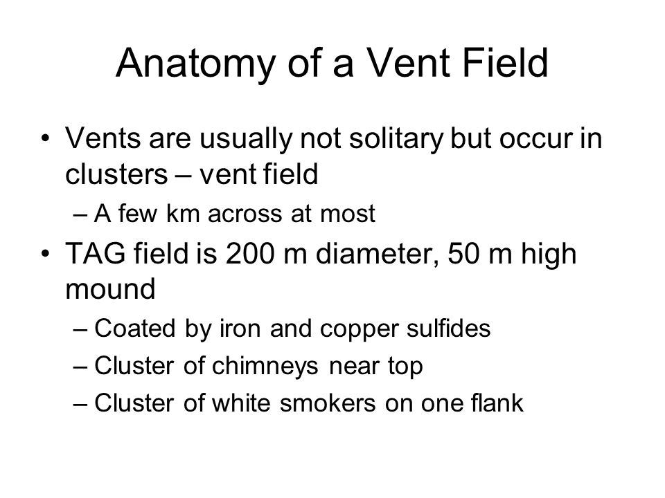 Anatomy of a Vent Field Vents are usually not solitary but occur in clusters – vent field. A few km across at most.