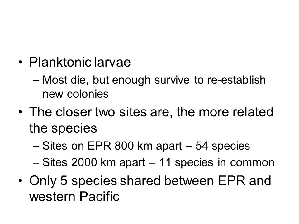 The closer two sites are, the more related the species