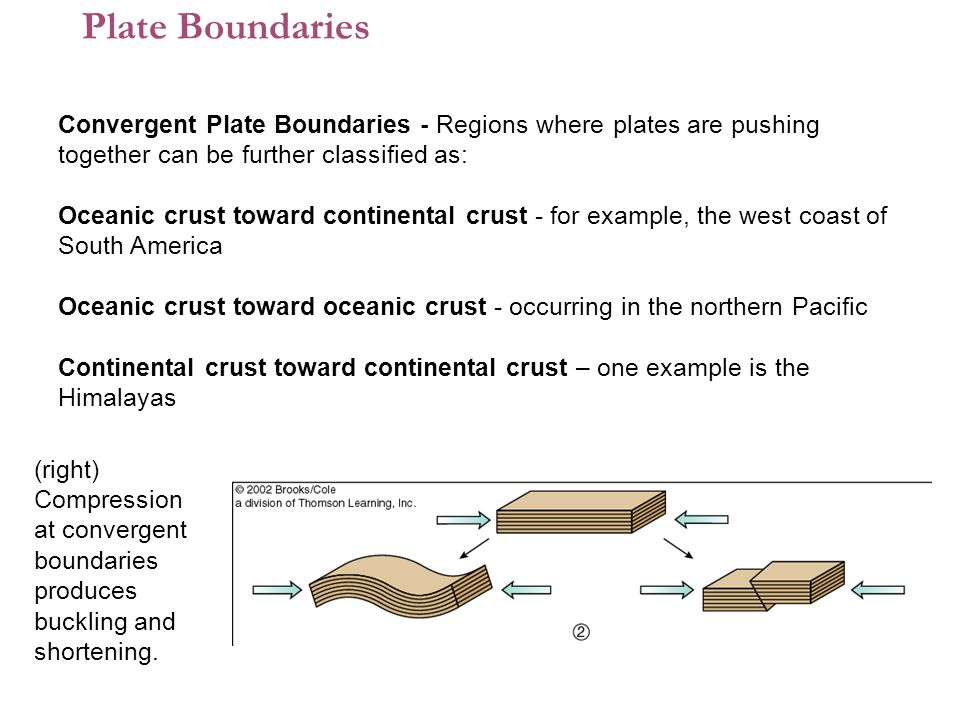 Plate Boundaries Convergent Plate Boundaries - Regions where plates are pushing together can be further classified as: