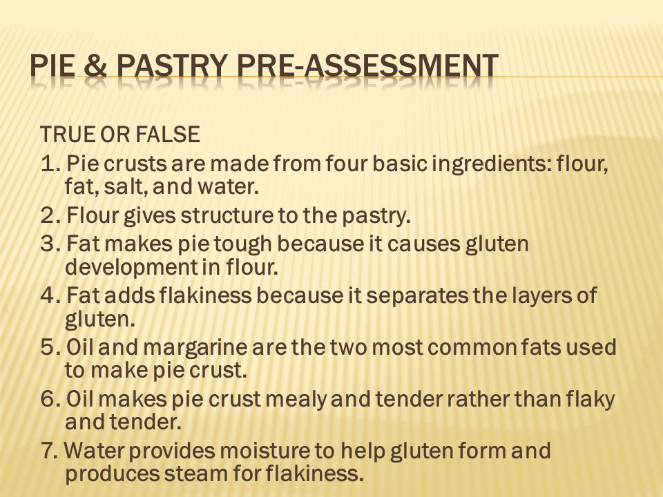 Pie & Pastry Pre-Assessment