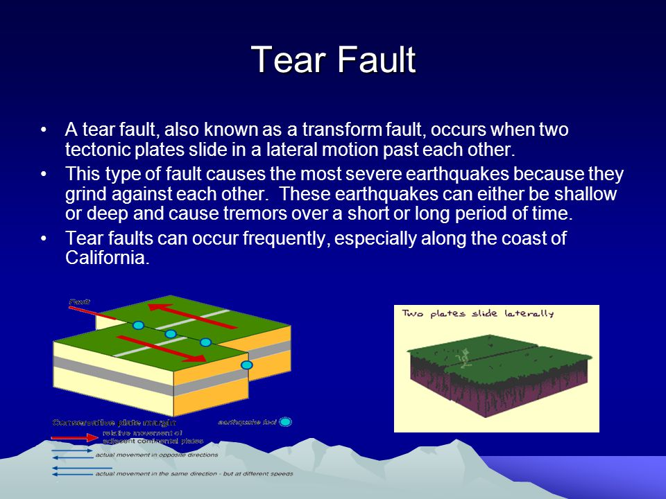 Tear Fault A tear fault, also known as a transform fault, occurs when two tectonic plates slide in a lateral motion past each other.