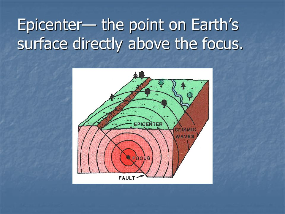Epicenter— the point on Earth's surface directly above the focus.