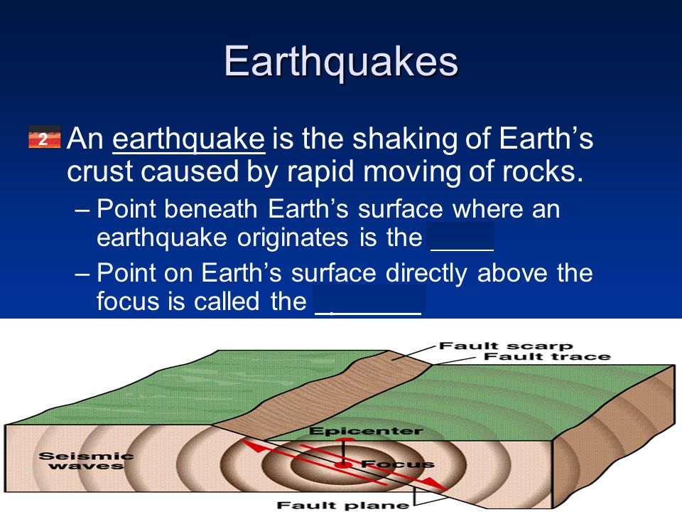 Earthquakes An earthquake is the shaking of Earth's crust caused by rapid moving of rocks.
