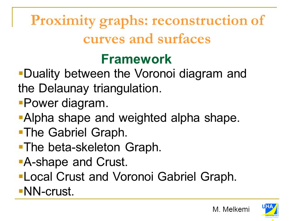 Proximity graphs: reconstruction of curves and surfaces