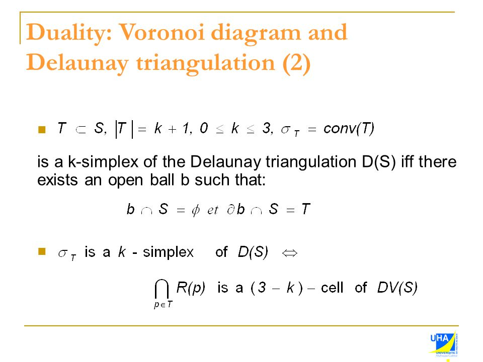 Duality: Voronoi diagram and Delaunay triangulation (2)