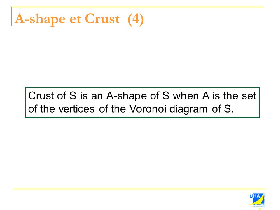 A-shape et Crust (4) Crust of S is an A-shape of S when A is the set of the vertices of the Voronoi diagram of S.