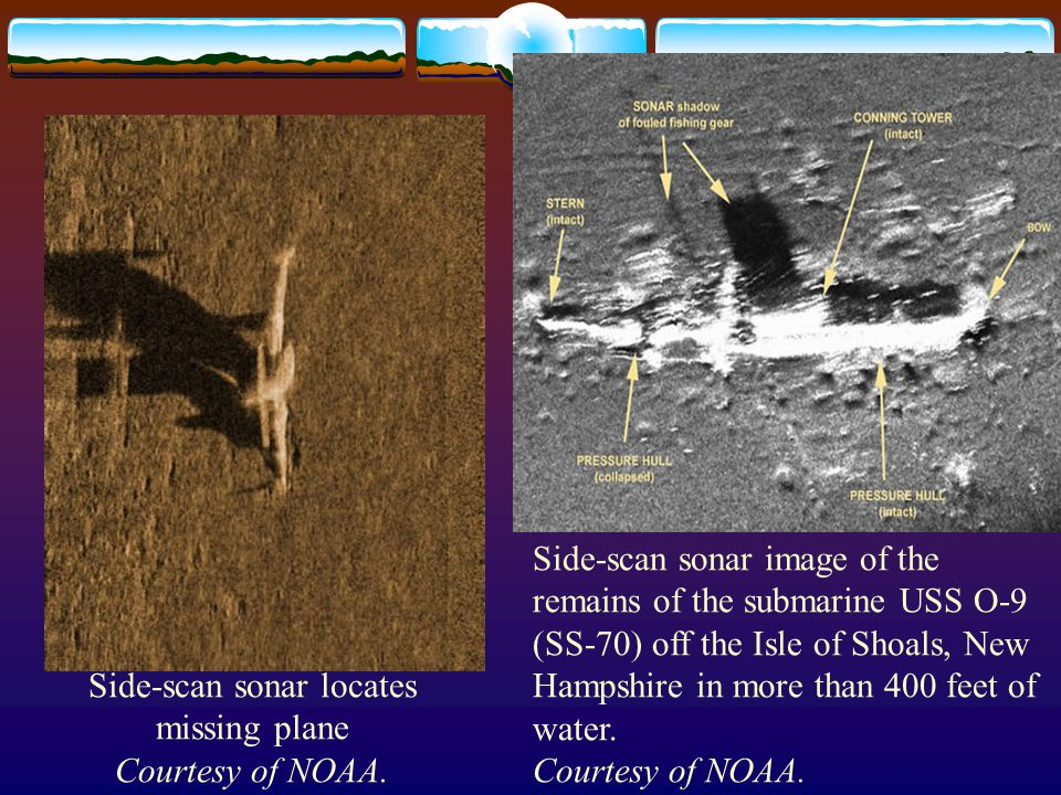 Side-scan sonar locates missing plane Courtesy of NOAA.