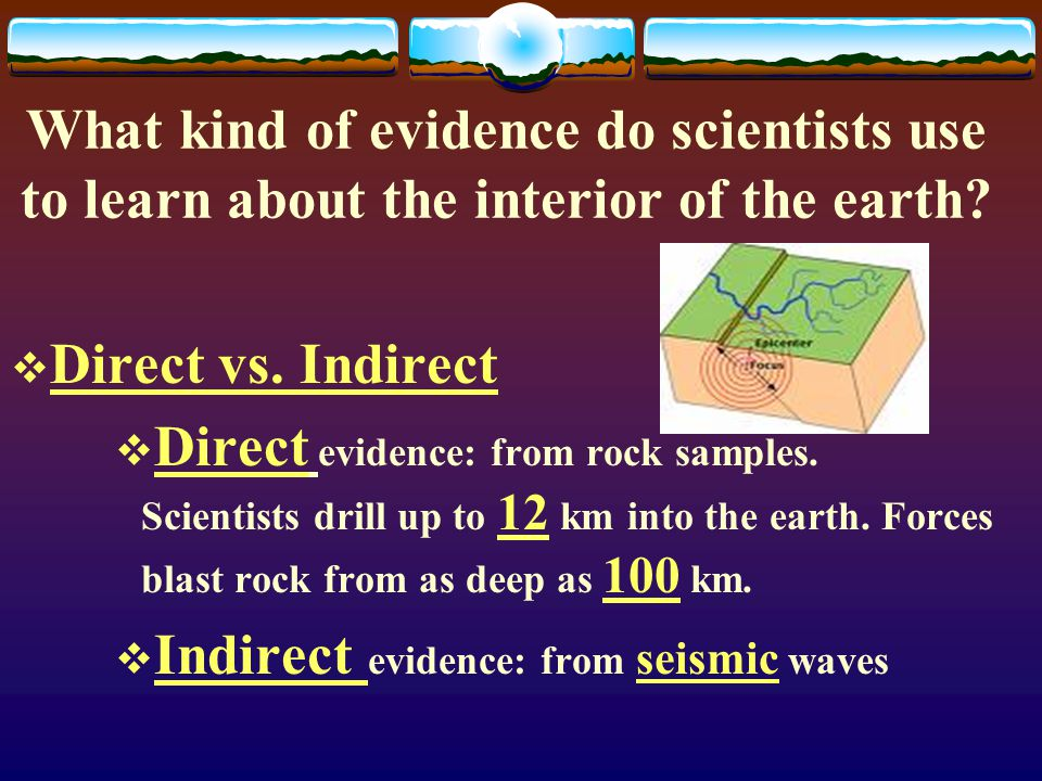 What kind of evidence do scientists use to learn about the interior of the earth