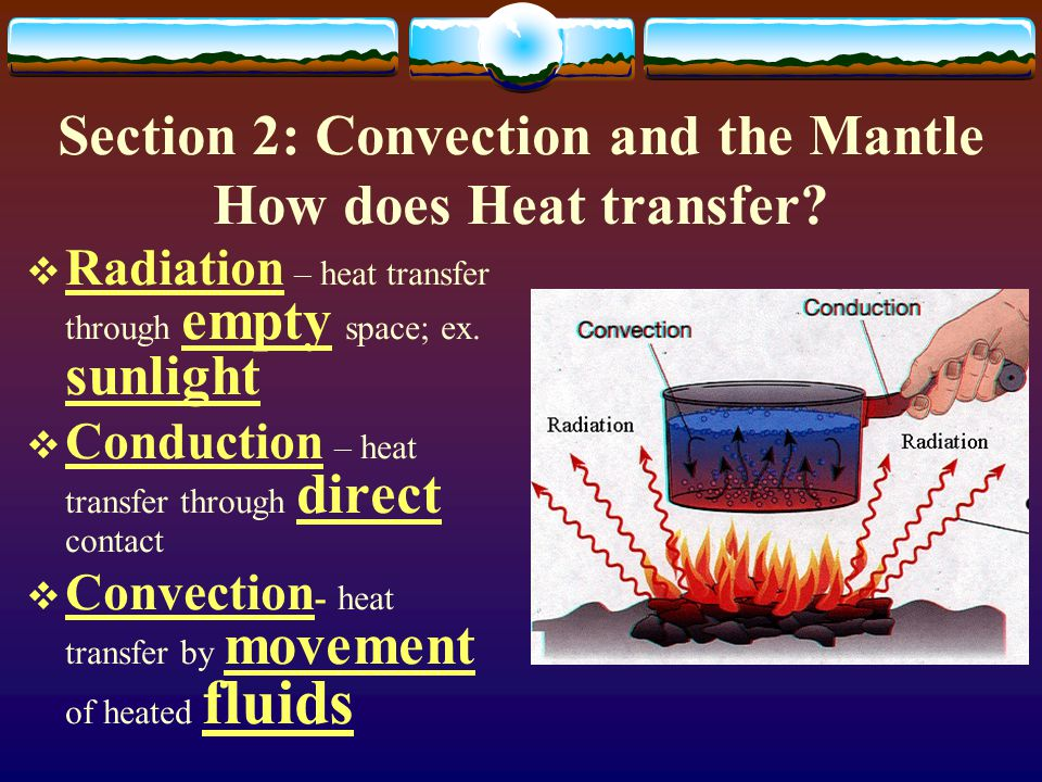Section 2: Convection and the Mantle How does Heat transfer