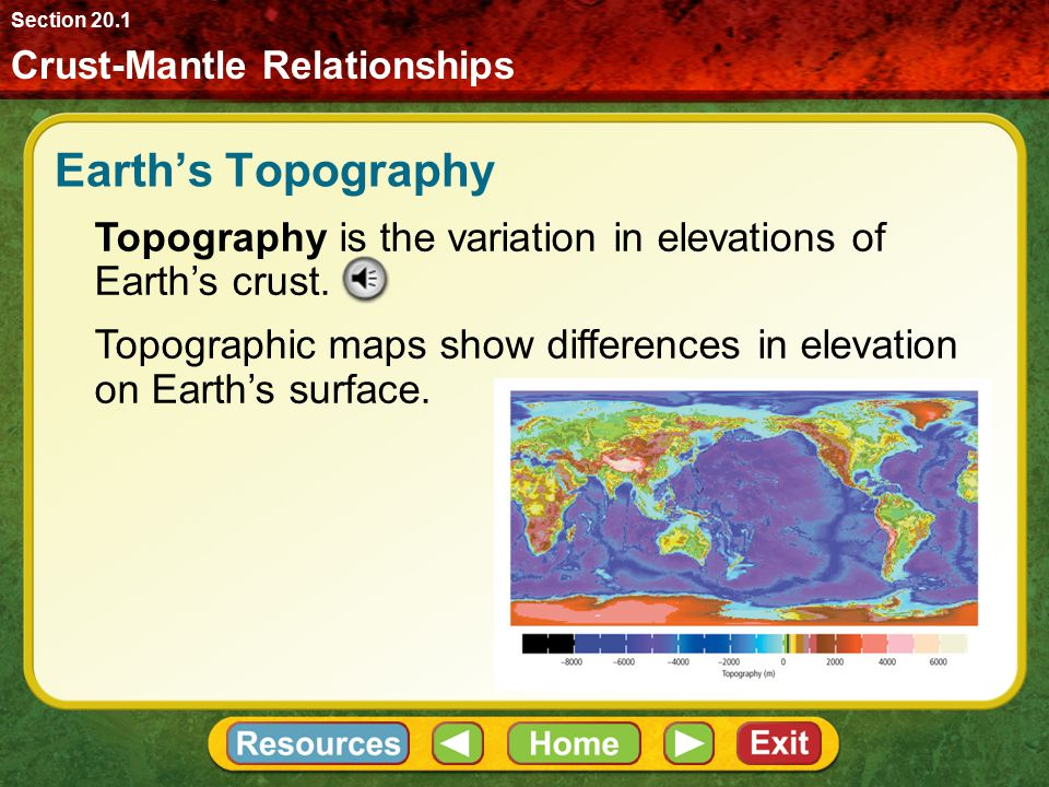 Section 20.1 Crust-Mantle Relationships. Earth's Topography. Topography is the variation in elevations of Earth's crust.