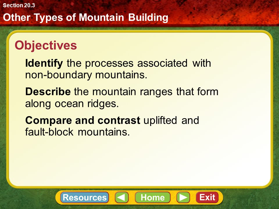 Section 20.3 Other Types of Mountain Building. Objectives. Identify the processes associated with non-boundary mountains.