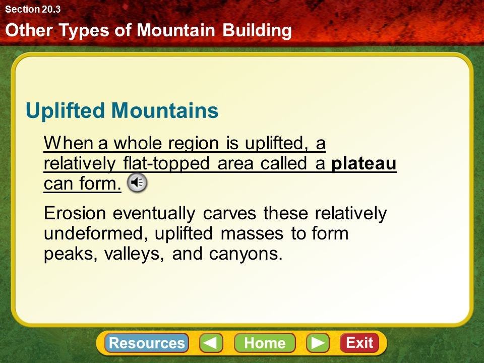 Section 20.3 Other Types of Mountain Building. Uplifted Mountains.