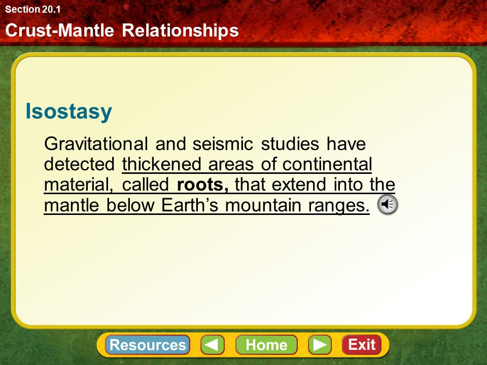 Section 20.1 Crust-Mantle Relationships. Isostasy.