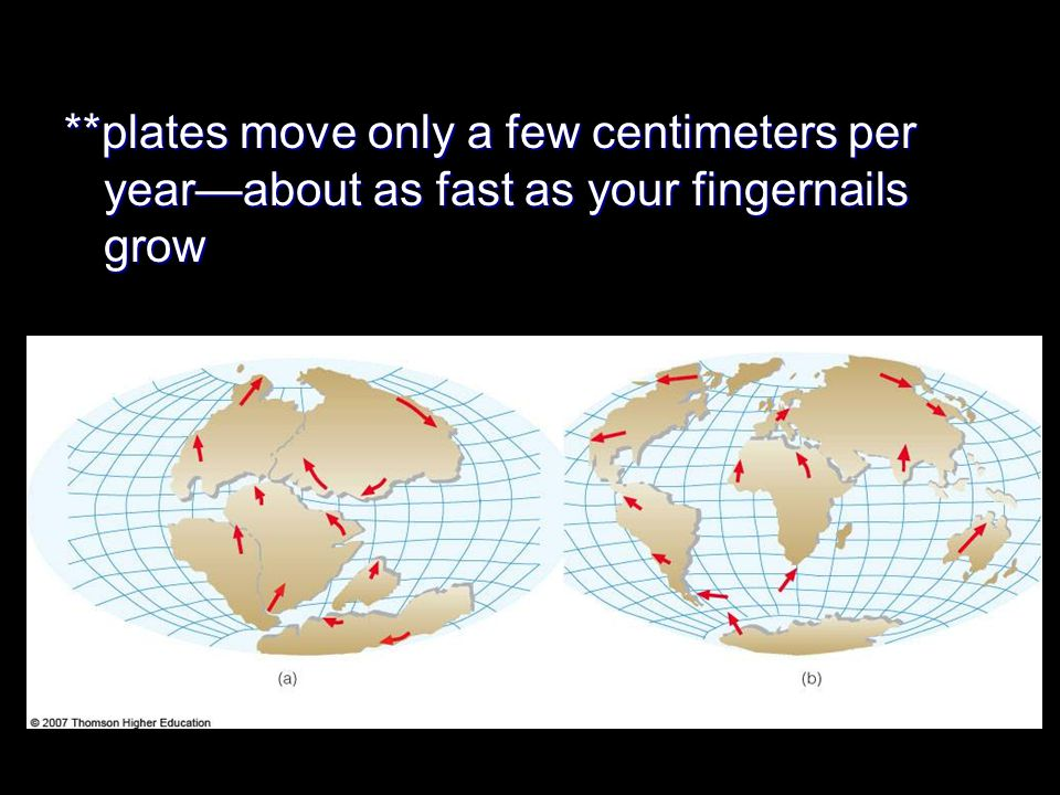 **plates move only a few centimeters per year—about as fast as your fingernails grow