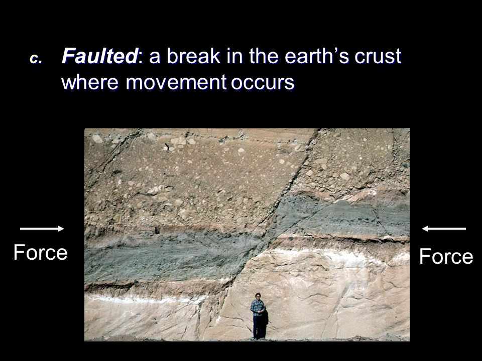 Faulted: a break in the earth's crust where movement occurs