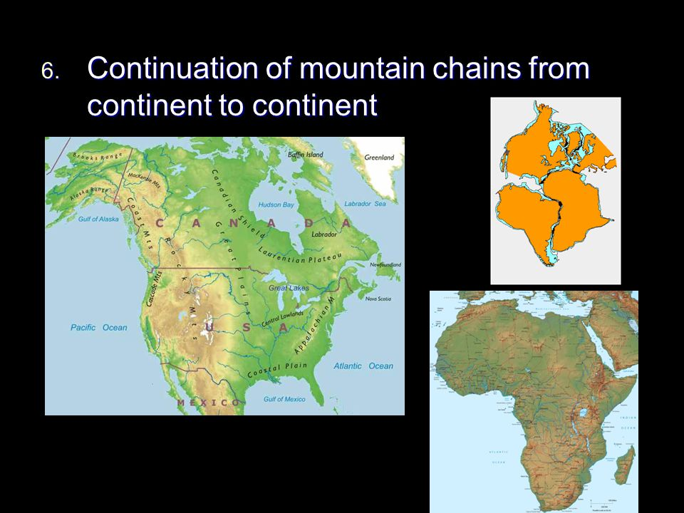 Continuation of mountain chains from continent to continent