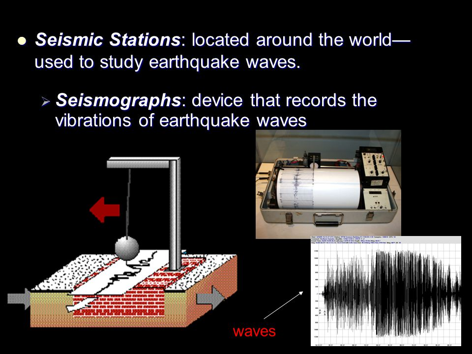 Seismographs: device that records the vibrations of earthquake waves