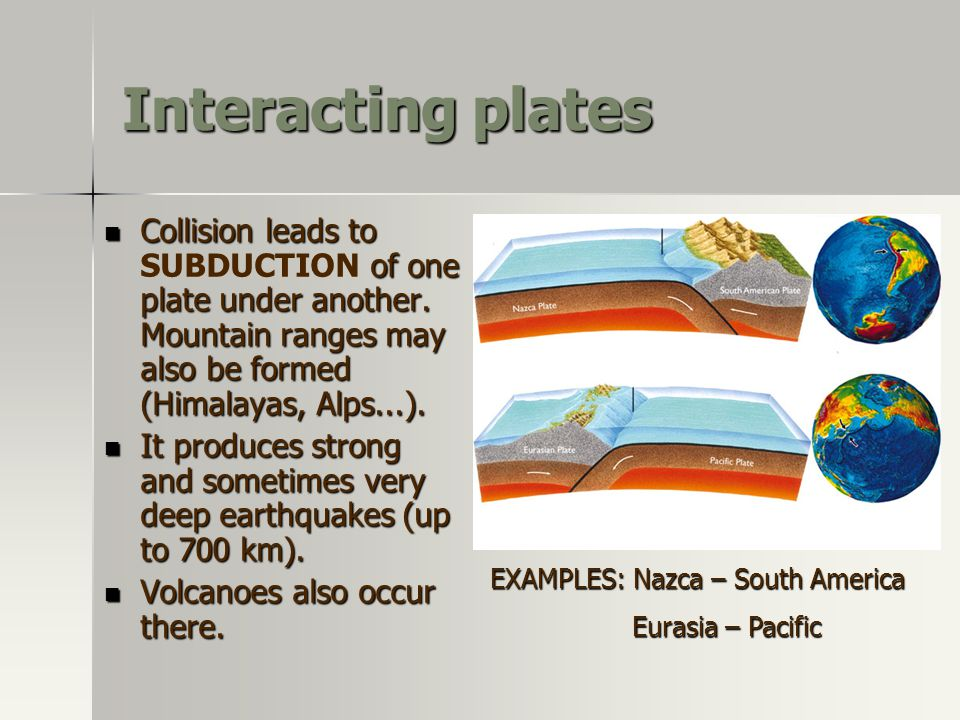 Interacting plates Collision leads to SUBDUCTION of one plate under another. Mountain ranges may also be formed (Himalayas, Alps...).