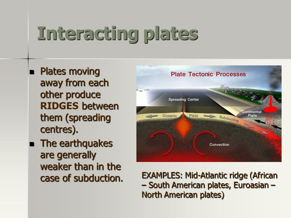 Interacting plates Plates moving away from each other produce RIDGES between them (spreading centres).