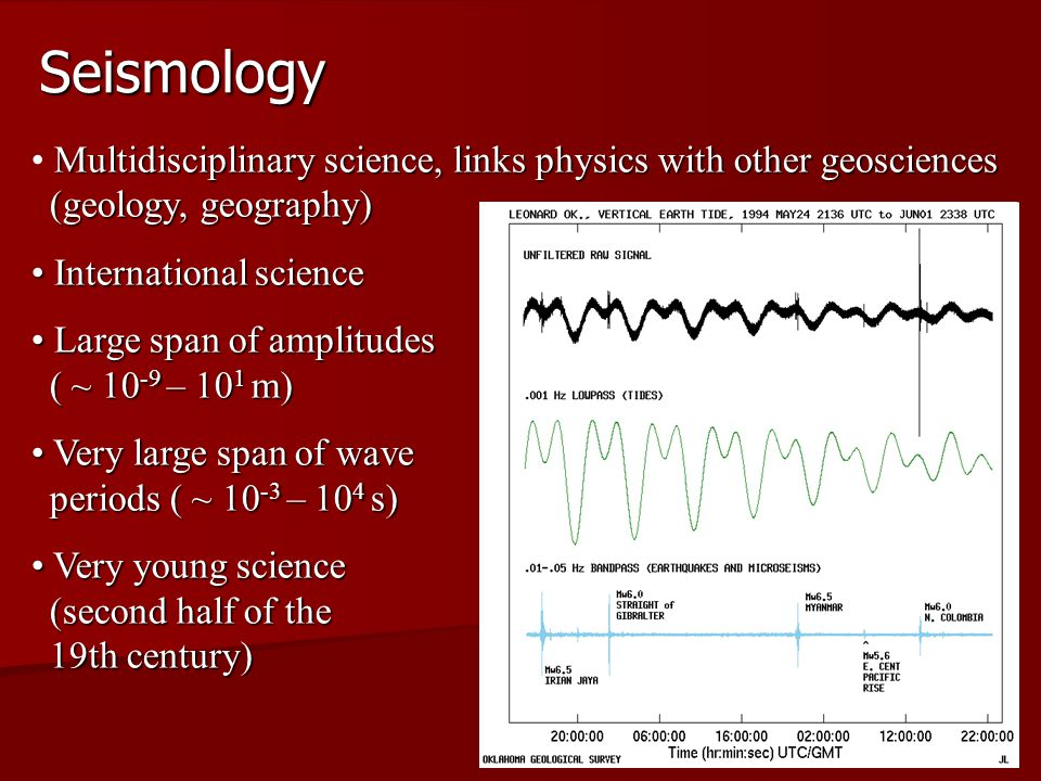 Seismology Multidisciplinary science, links physics with other geosciences (geology, geography) International science.