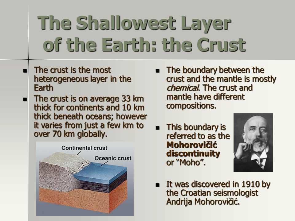 The Shallowest Layer of the Earth: the Crust