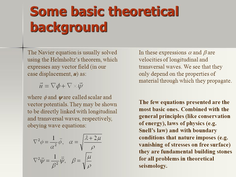 Some basic theoretical background
