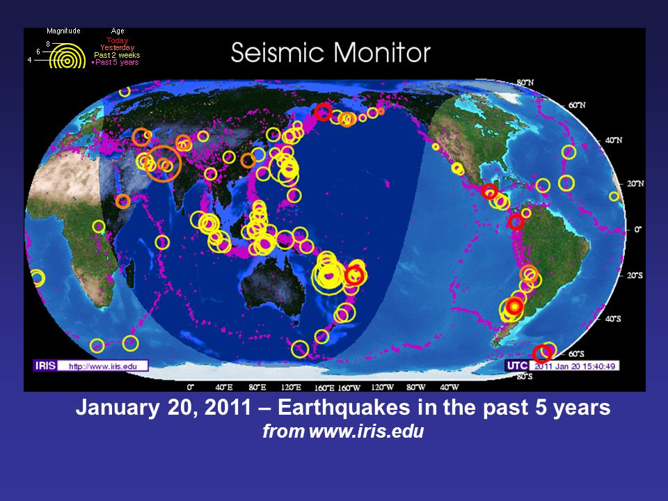 January 20, 2011 – Earthquakes in the past 5 years