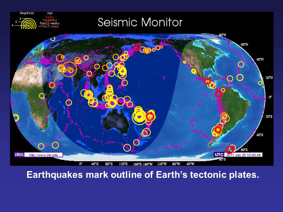 Earthquakes mark outline of Earth's tectonic plates.