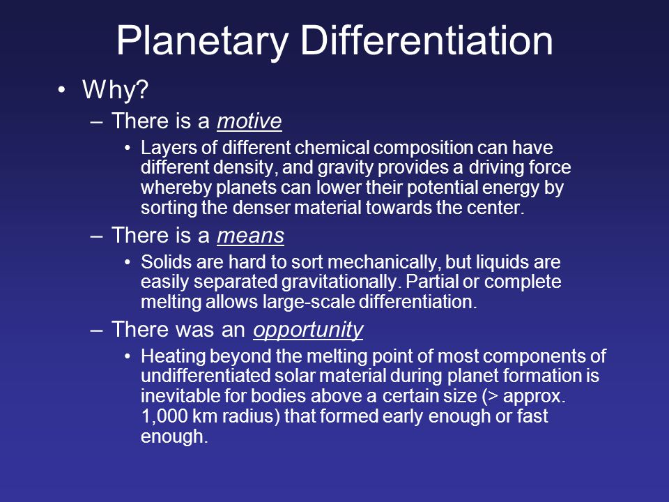 Planetary Differentiation