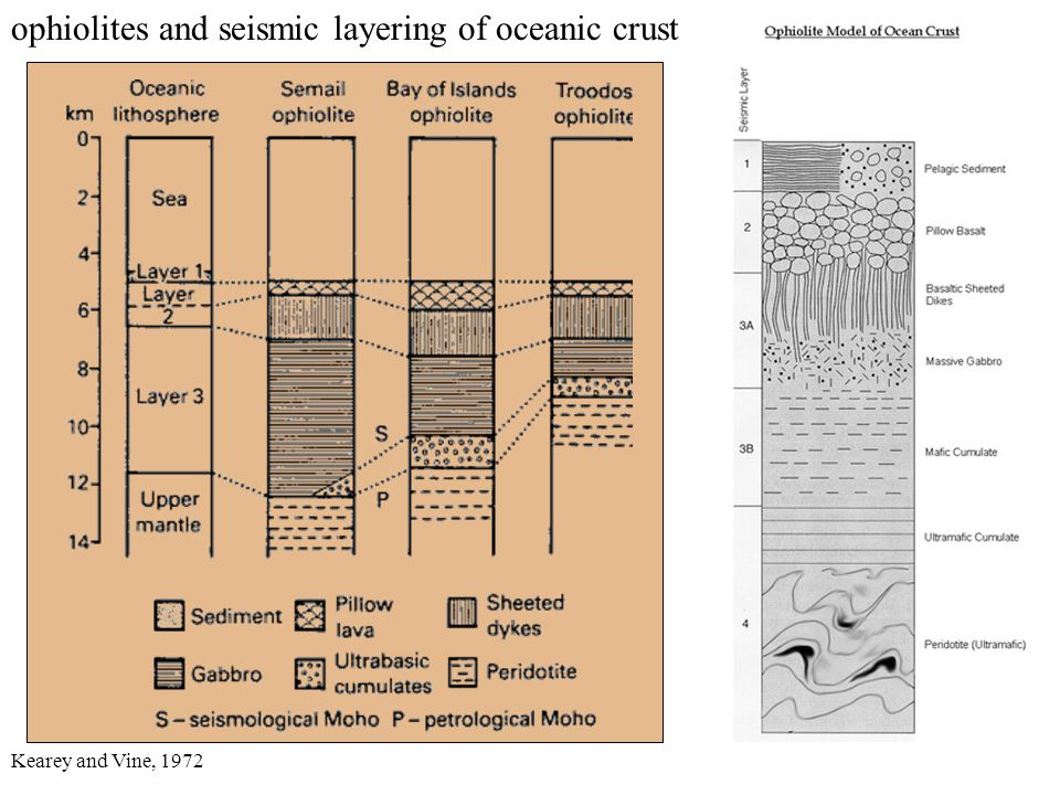 ophiolites and seismic layering of oceanic crust