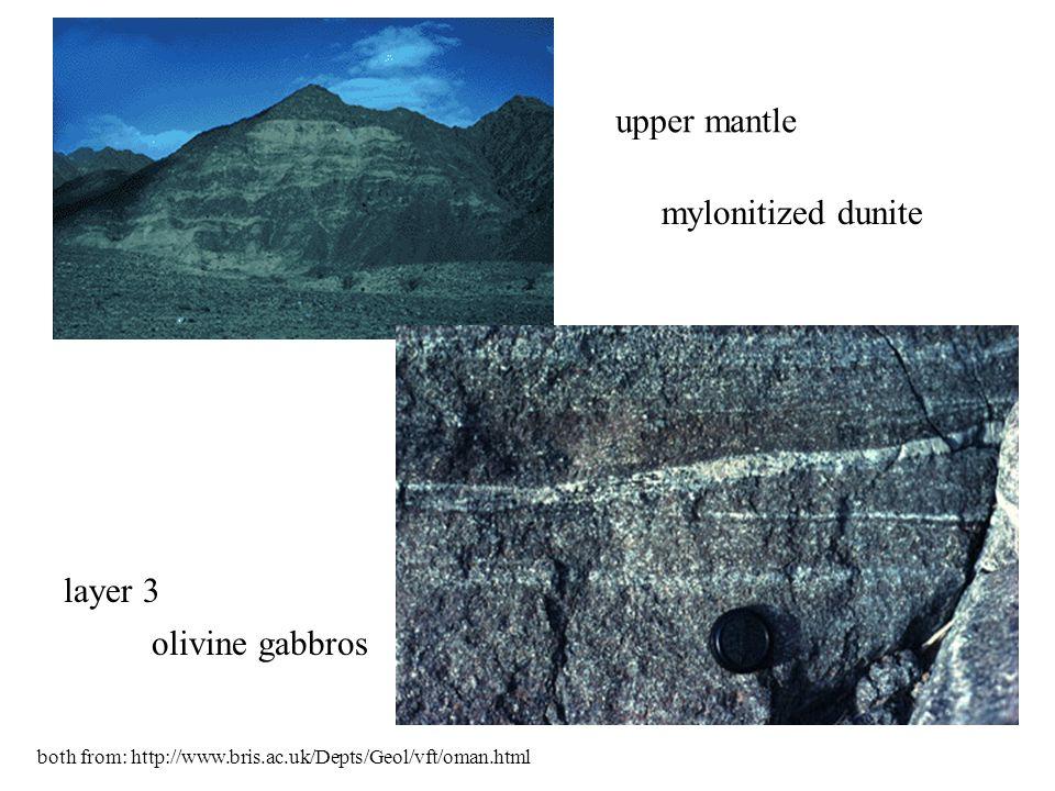 upper mantle mylonitized dunite layer 3 olivine gabbros