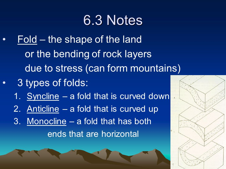 6.3 Notes Fold – the shape of the land or the bending of rock layers
