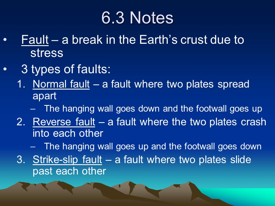 6.3 Notes Fault – a break in the Earth's crust due to stress