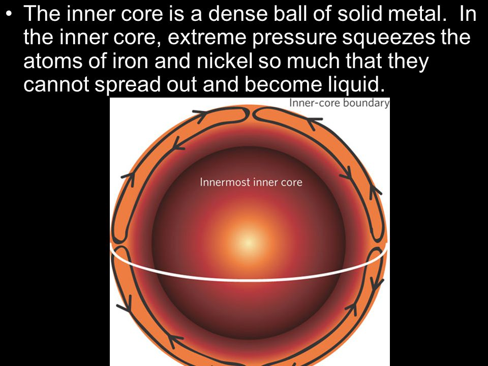 The inner core is a dense ball of solid metal
