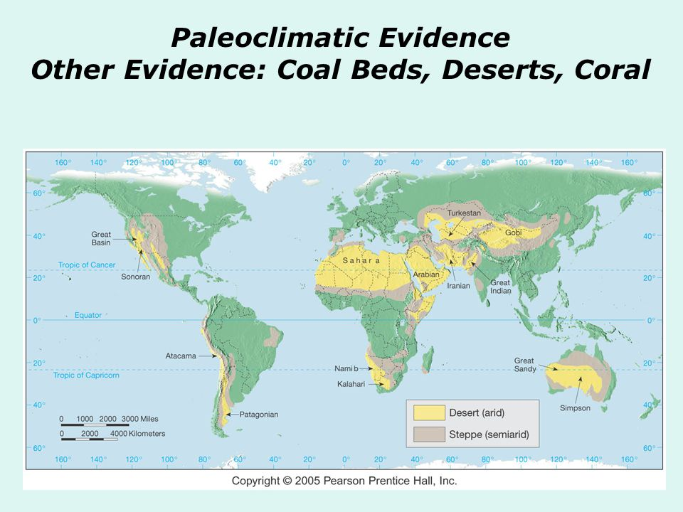Paleoclimatic Evidence Other Evidence: Coal Beds, Deserts, Coral