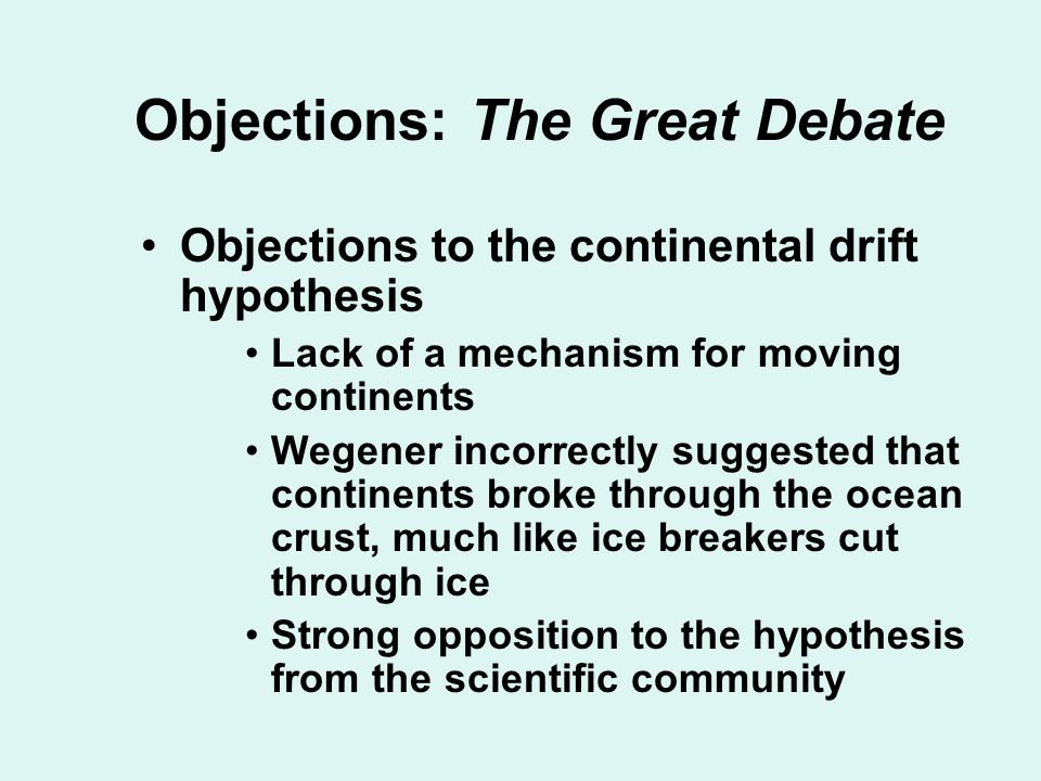 Objections: The Great Debate
