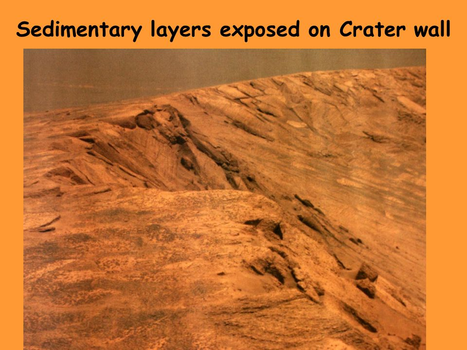 Sedimentary layers exposed on Crater wall