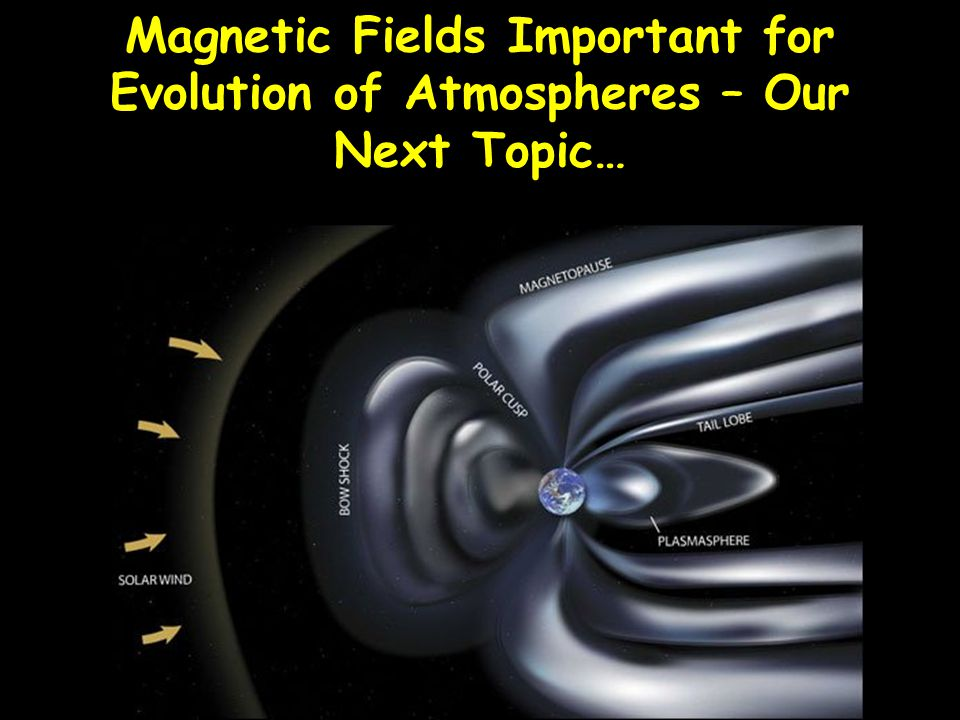 Magnetic Fields Important for Evolution of Atmospheres – Our Next Topic…