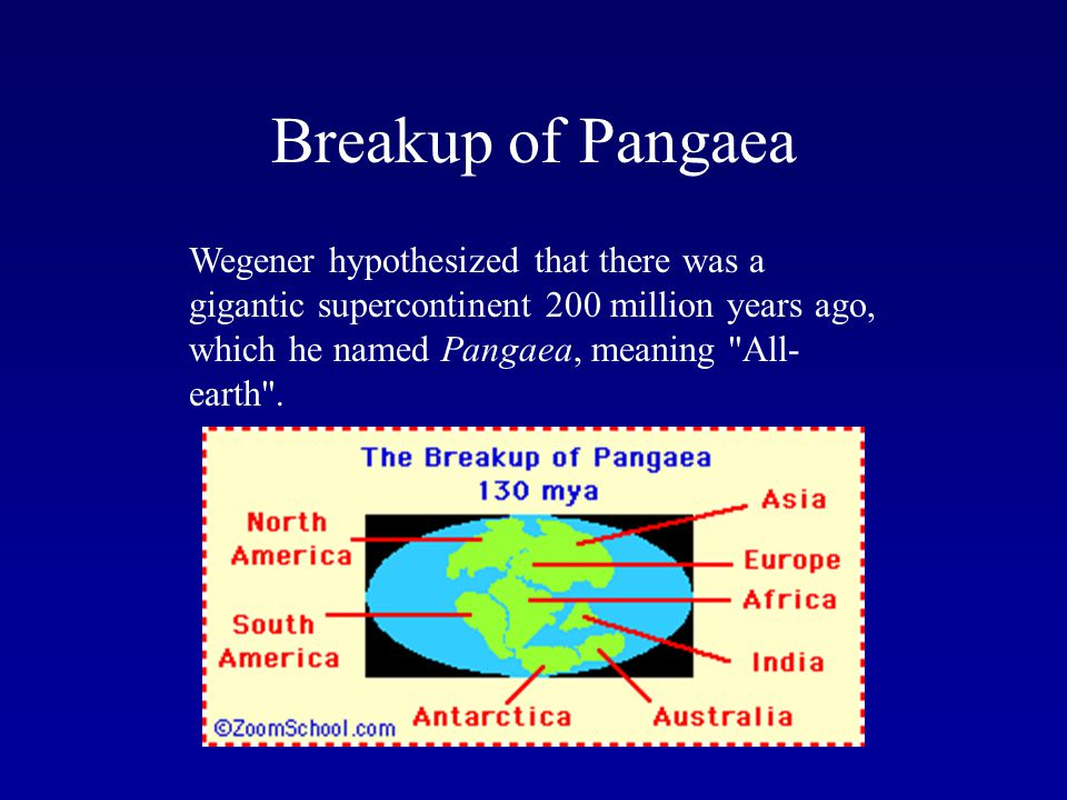 Breakup of Pangaea Wegener hypothesized that there was a gigantic supercontinent 200 million years ago, which he named Pangaea, meaning All-earth .