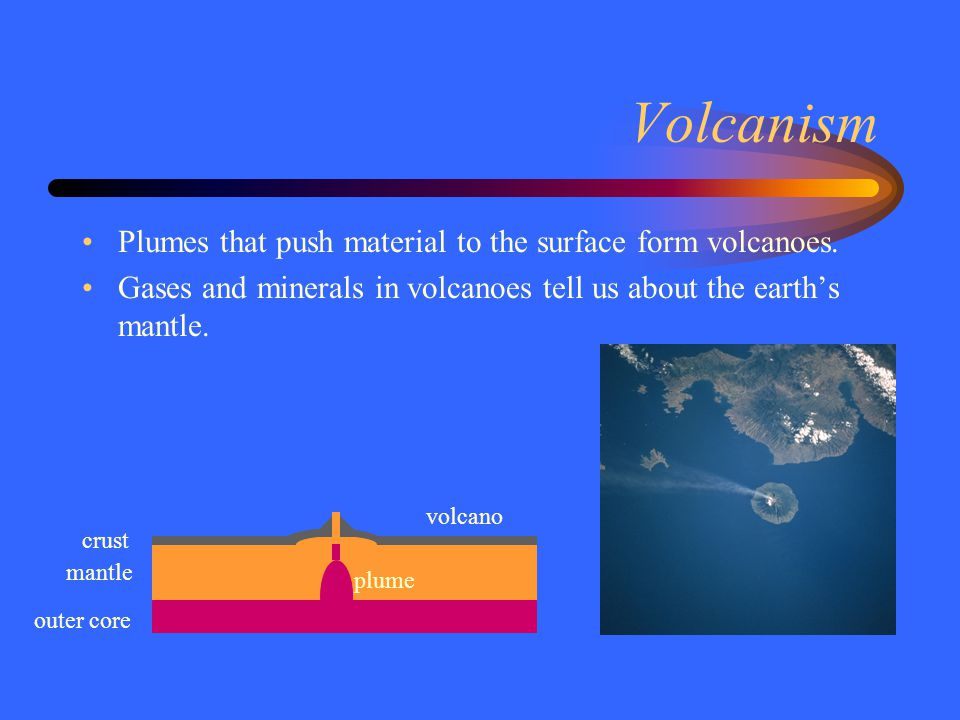 Volcanism Plumes that push material to the surface form volcanoes.