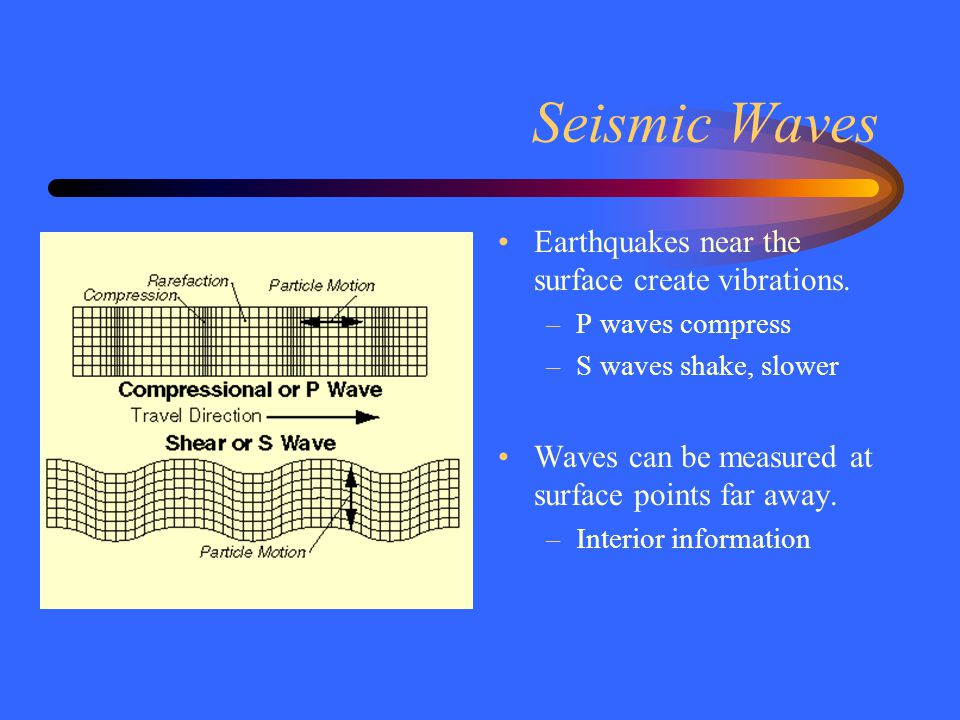 Seismic Waves Earthquakes near the surface create vibrations.