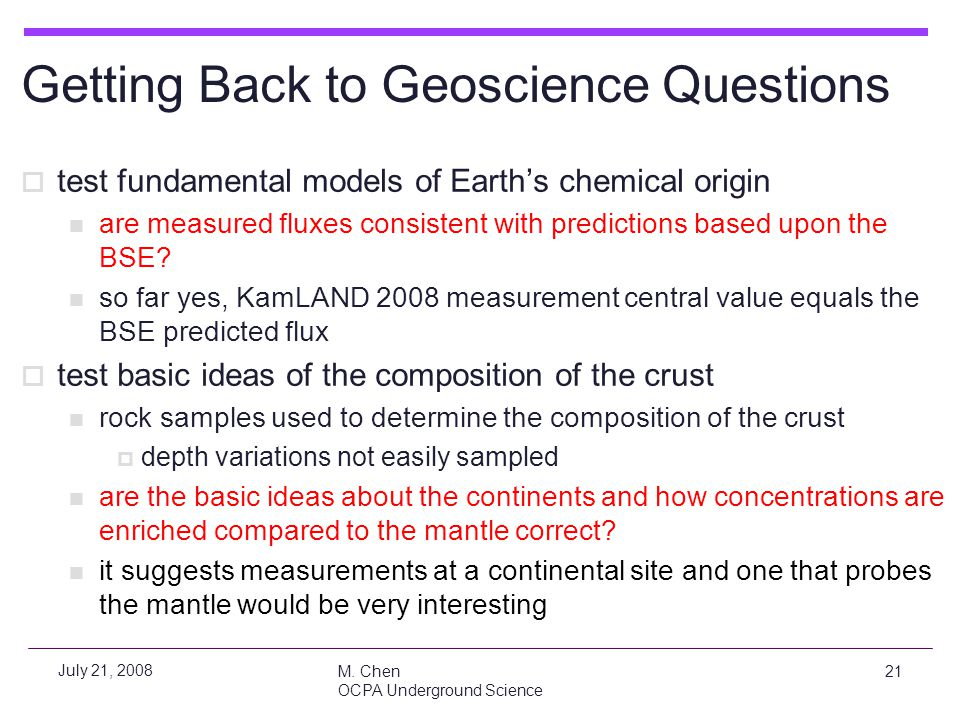 Getting Back to Geoscience Questions