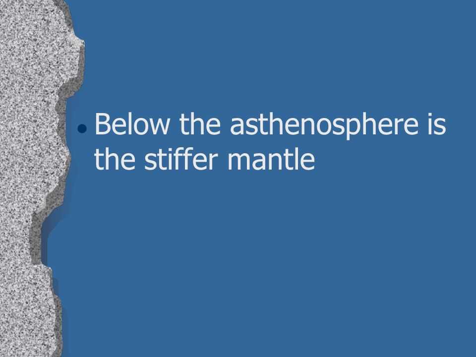 Below the asthenosphere is the stiffer mantle