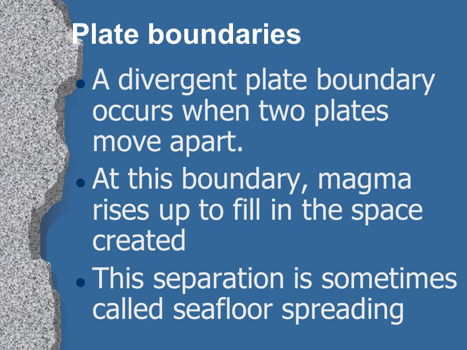 Plate boundaries A divergent plate boundary occurs when two plates move apart. At this boundary, magma rises up to fill in the space created.
