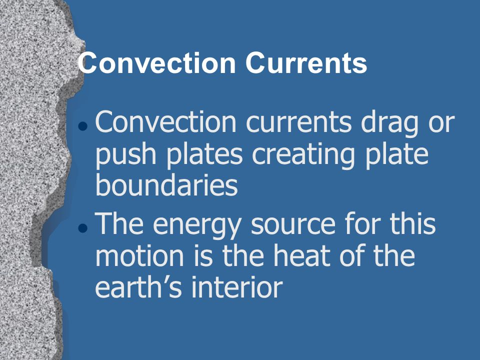 Convection Currents Convection currents drag or push plates creating plate boundaries.