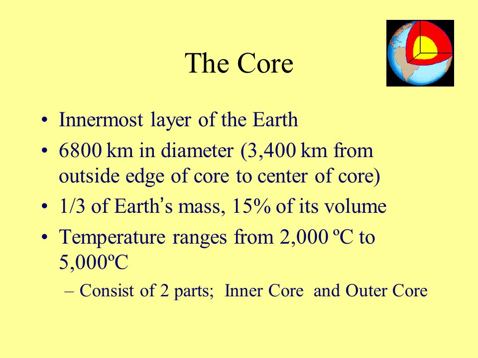The Core Innermost layer of the Earth