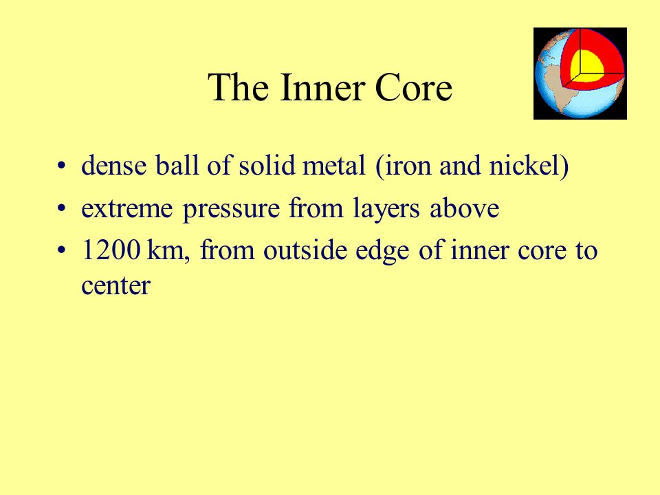 The Inner Core dense ball of solid metal (iron and nickel)