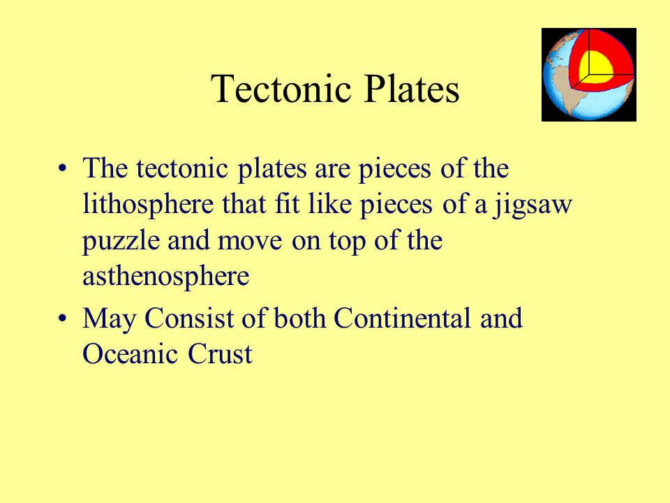 Tectonic Plates The tectonic plates are pieces of the lithosphere that fit like pieces of a jigsaw puzzle and move on top of the asthenosphere.