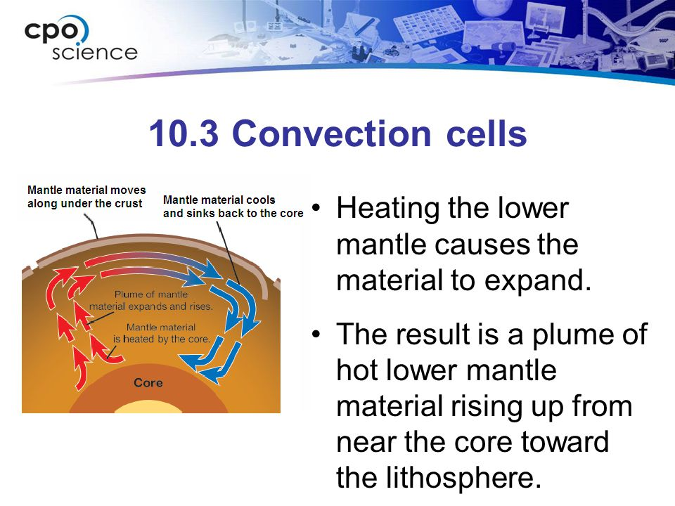 10.3 Convection cells Heating the lower mantle causes the material to expand.